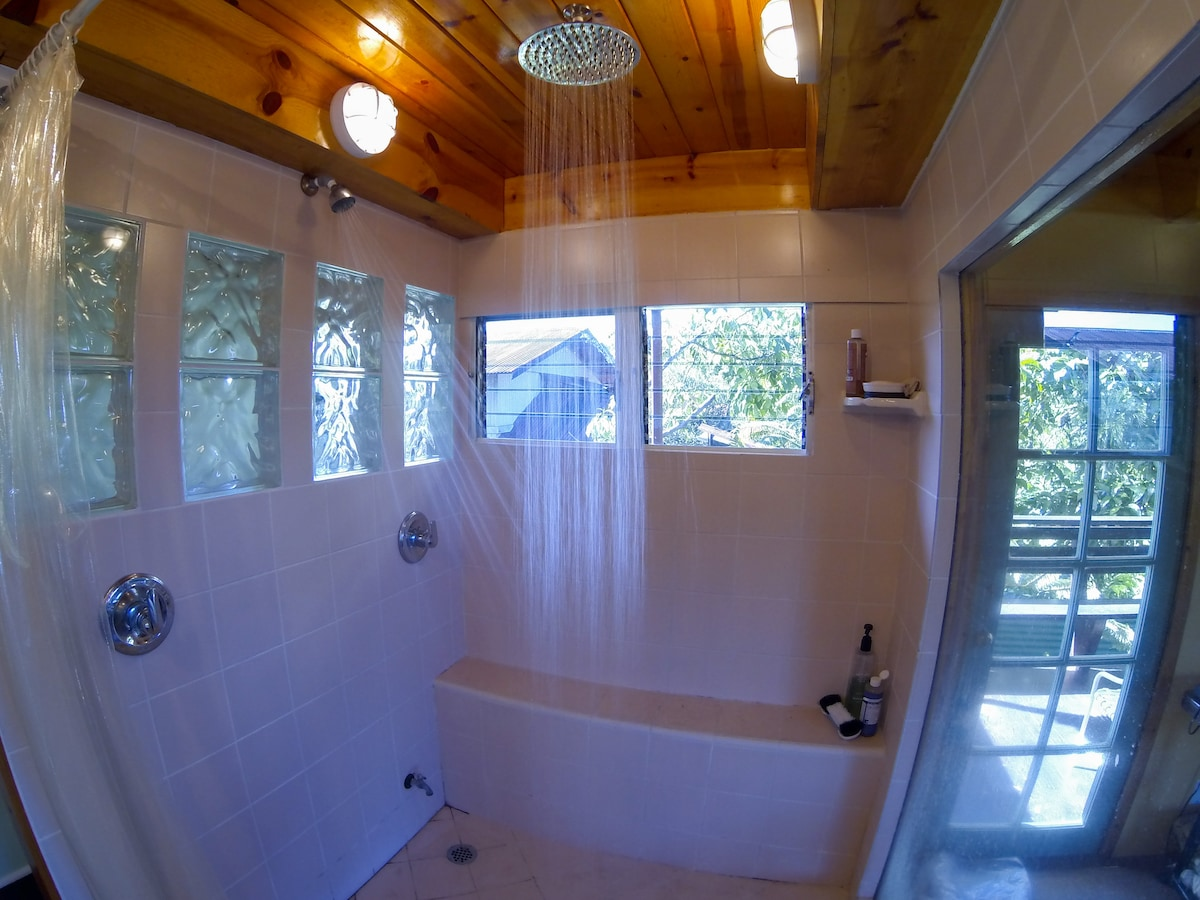 Private Master Suite (BR#1) - Large 5'x 6' Glass shower with 2 shower heads + Shower Bench in Master Bathroom.