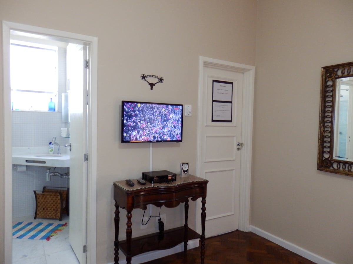Your bedroom has a private bathroom and cable HDTV.
