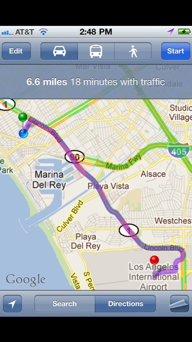 Map from LAX to the TreeHouse