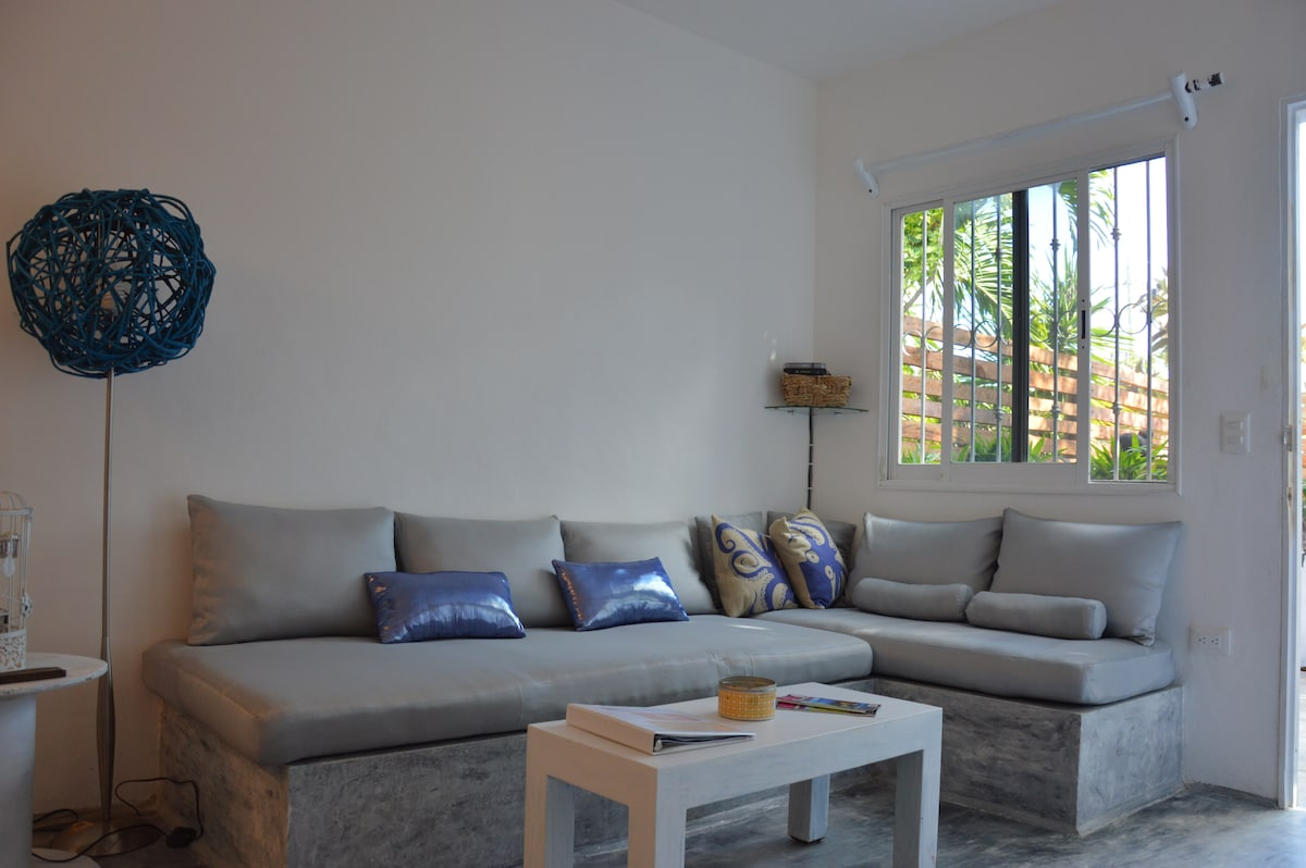 Built in sofa with deep,comfortable seating.
