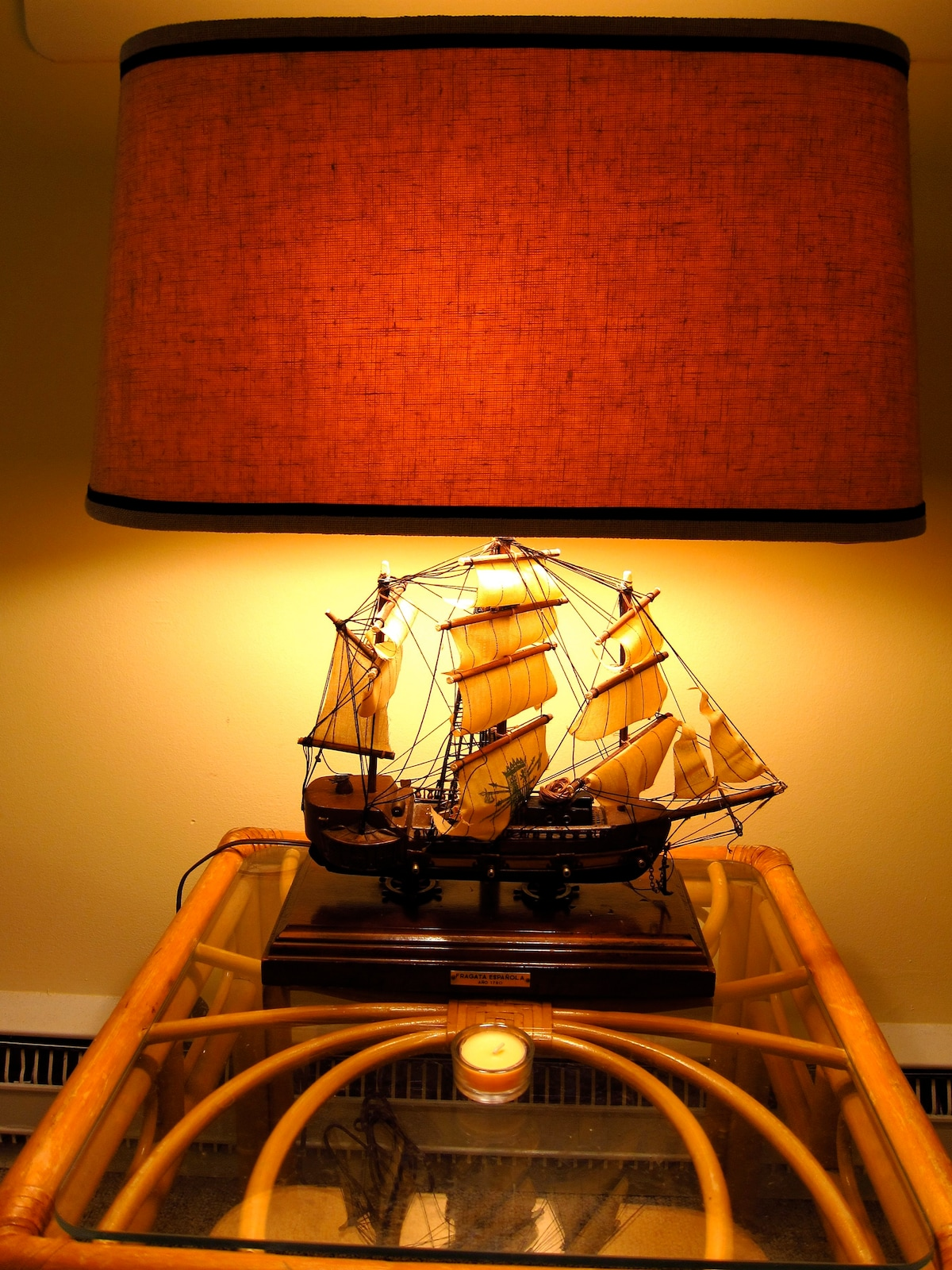 Our awesome wooden ship lamp in the living room!!