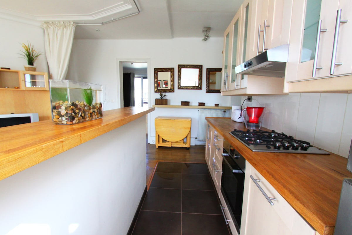 Fully-equipped kitchen: tableware, cookware, dishwasher, microwave, toaster, teapot...