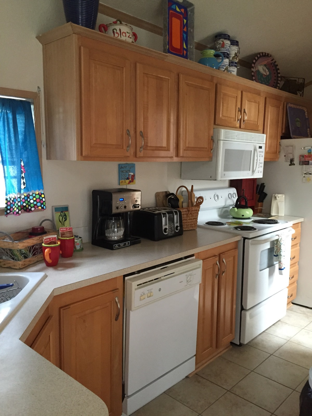 Fully equipped kitchen!  Stove ,microwave ,full size  refrigerator  , coffee pot, blender, toaster etc..