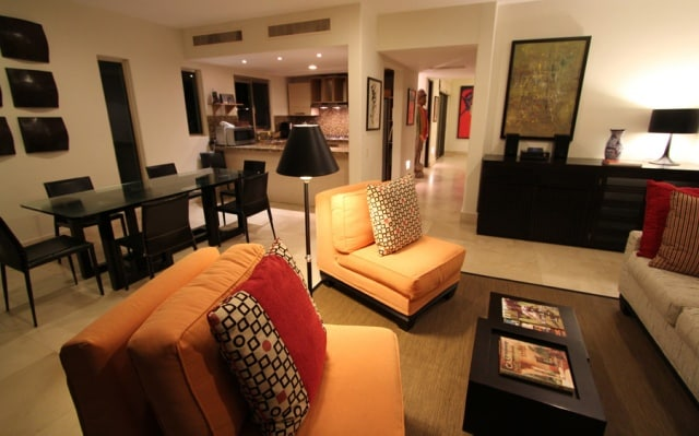 Living room overlooking the common areas of the complex