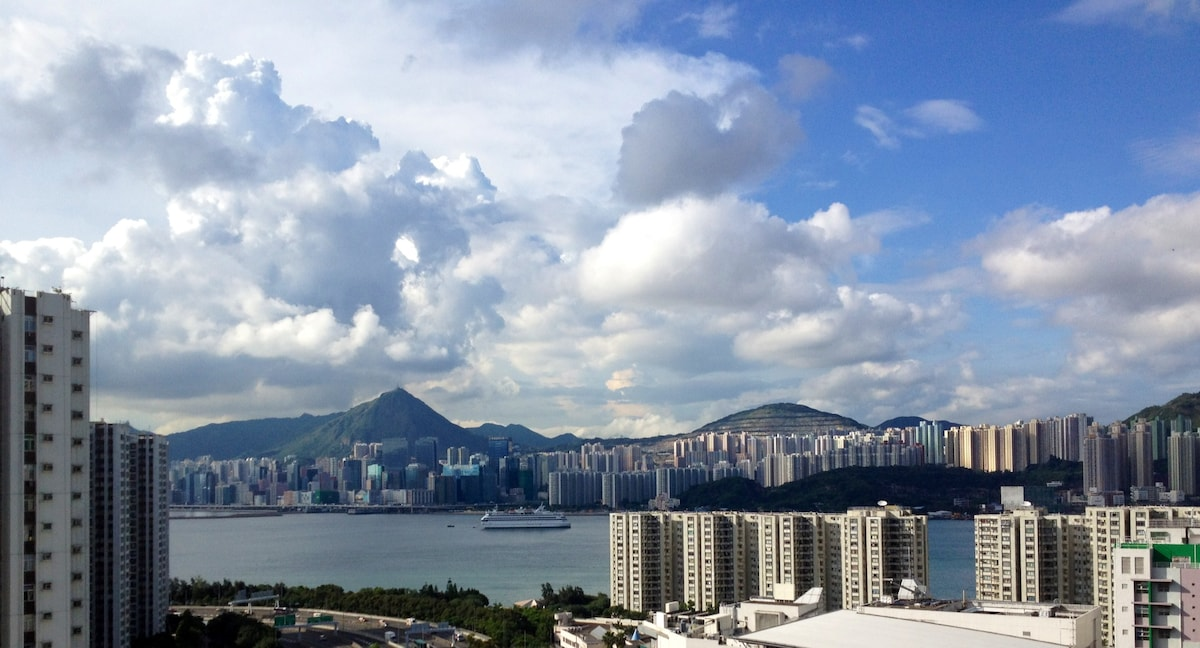 From the window: A stunning view of the Victoria harbor overlooking the Kowloon East.