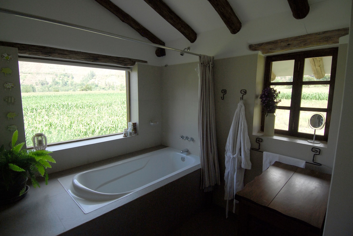 The bathroom has the best view to the farming fields of the west side.