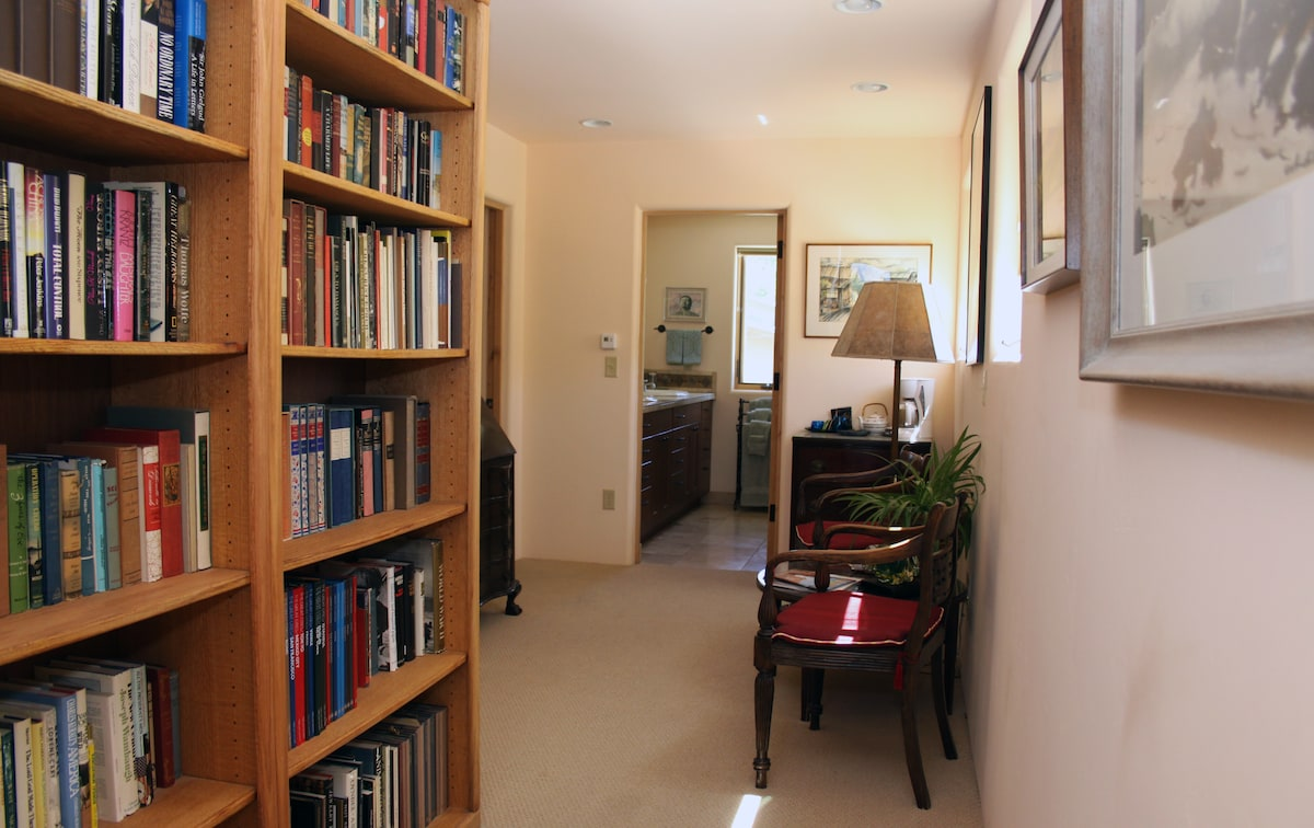 Upstairs hall library and sitting room