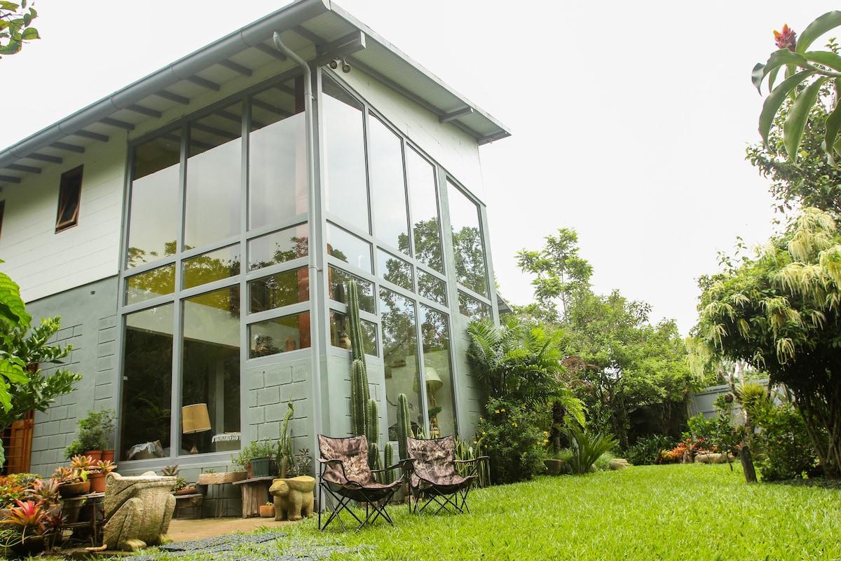 The house whitin the garden