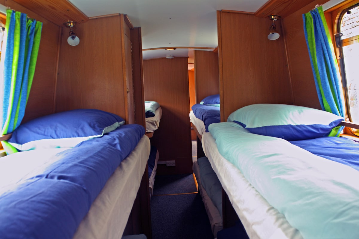 Shared comfortable bunk cabins.