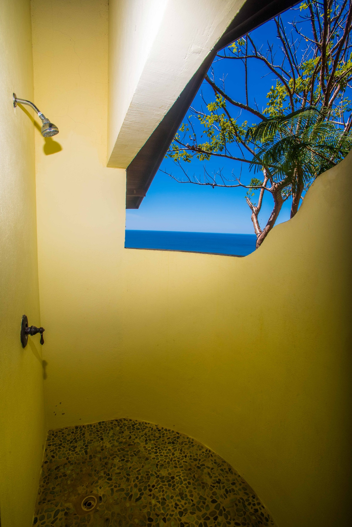 Outdoor shower with ocean views