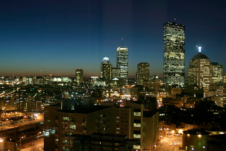 Night view of Boston Skyline from our 19th floor living room window.