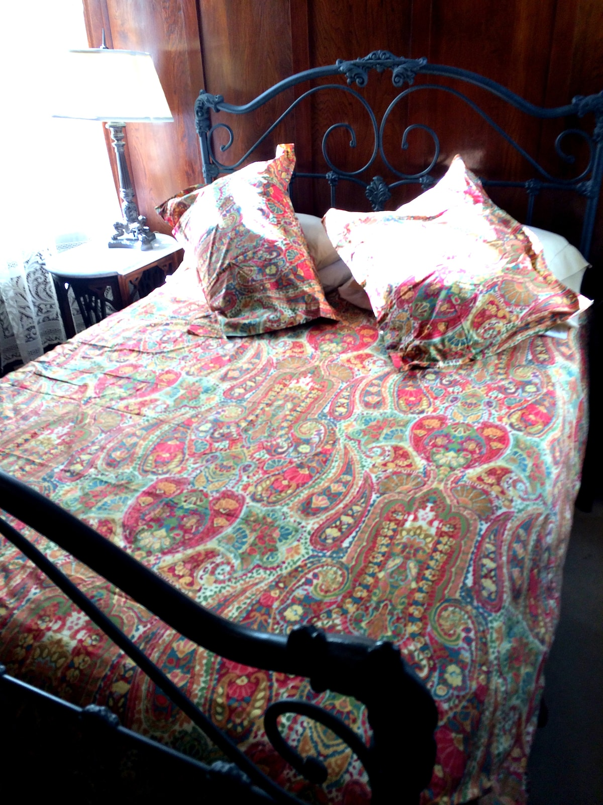 """Feb 2015. We just upgraded the bedding in this room to a collection from Pottery Barn -""""Rosalie"""". I wish we had this when the room was professionally photographed!"""