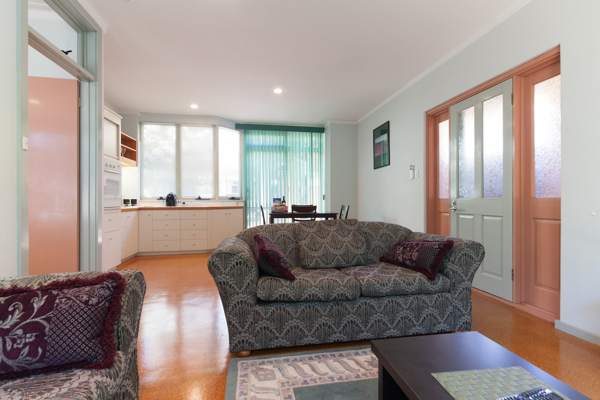 View to kitchen and dining area from loungeroom