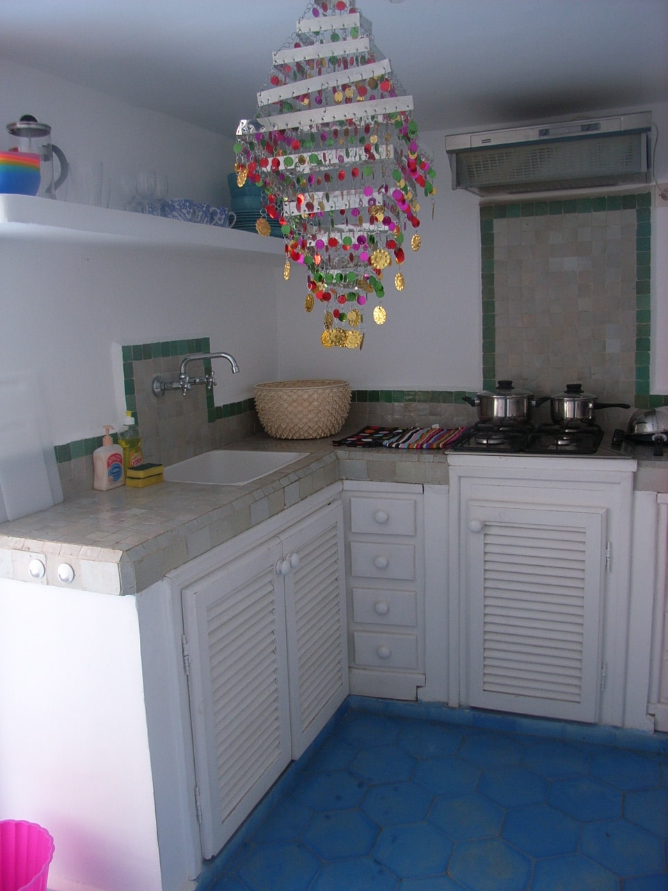 Kitchen with French windows onto terrace
