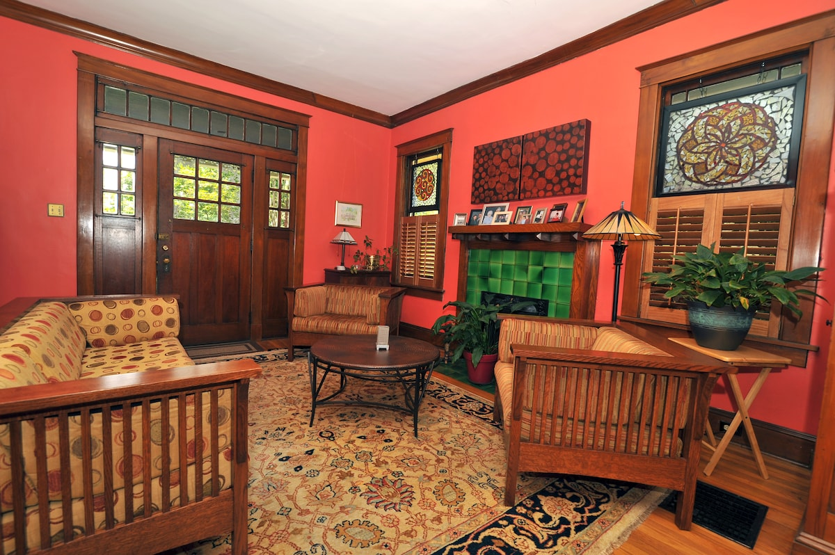 Our living room furniture honors the craftsman style of our home.