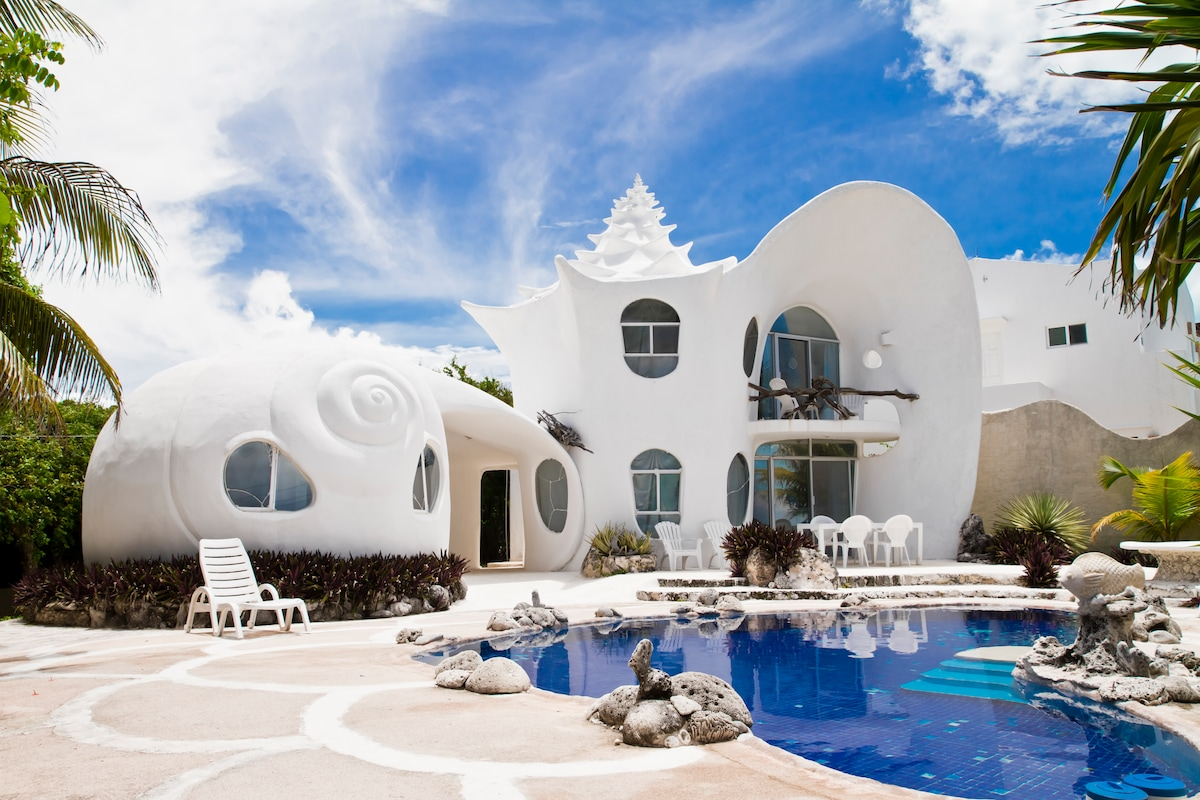 the world famous seashell house casa caracol houses for rent in isla mujeres mexico - Worlds Beautiful Houses