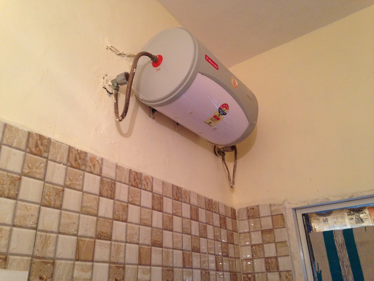 Geyser = Hot water available 24h in your bathroom