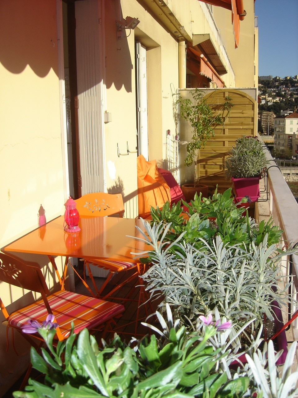 very sunny  and flowered terrasse