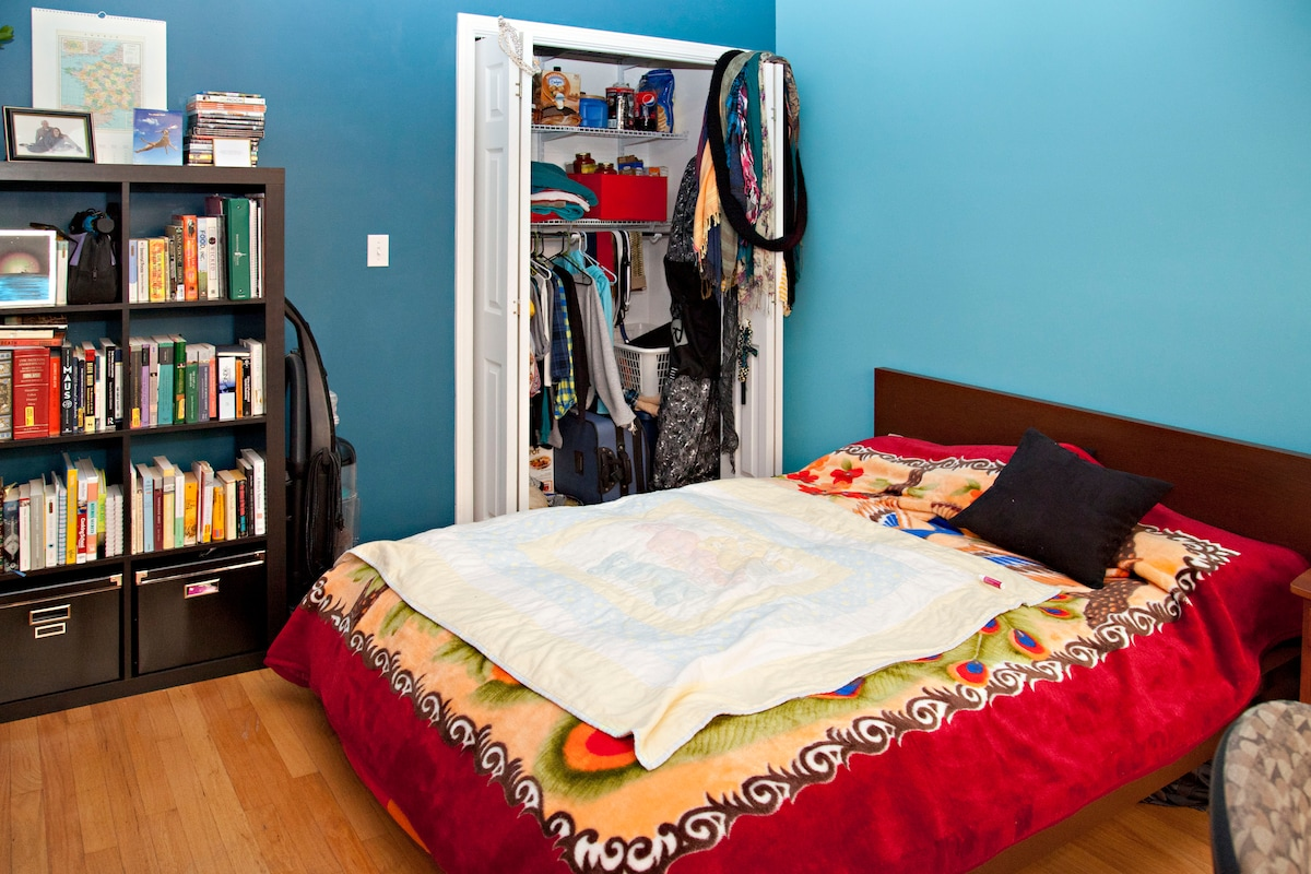 The bookcase, closet, and dresser are all free to use.