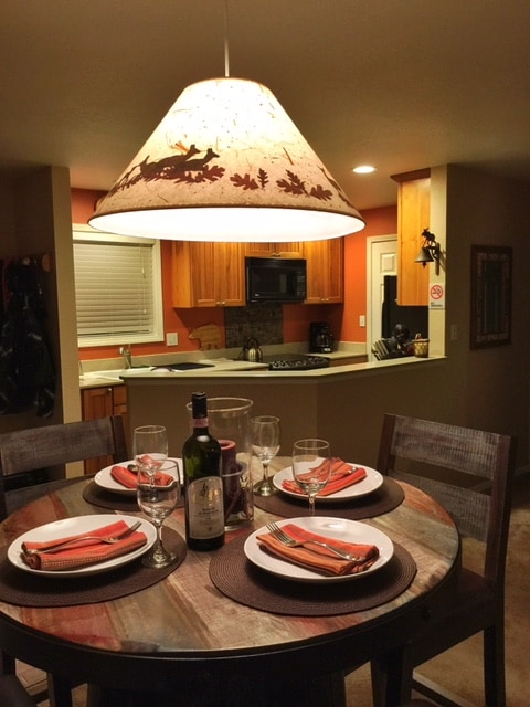 Dining seating for 4, overlooking the fully renovated kitchen.