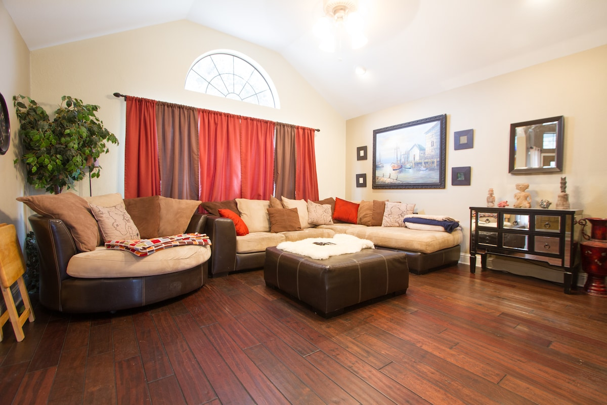 Living room with comfortable couch seating for the whole family