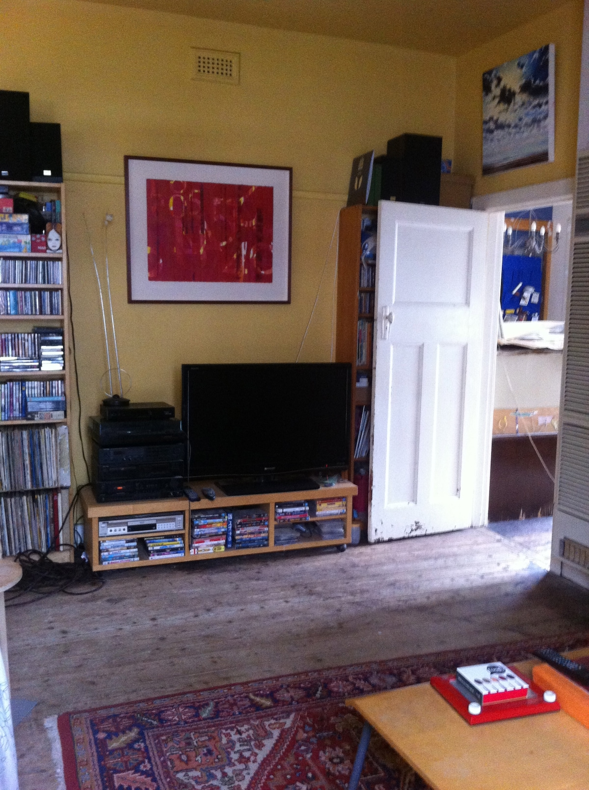 Living room - there's a few dvd's if you feel like watching something.