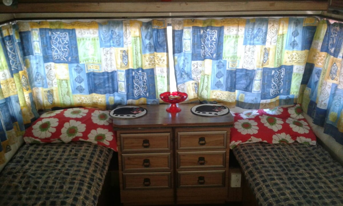 Nice tidy and cosy retro caravan.