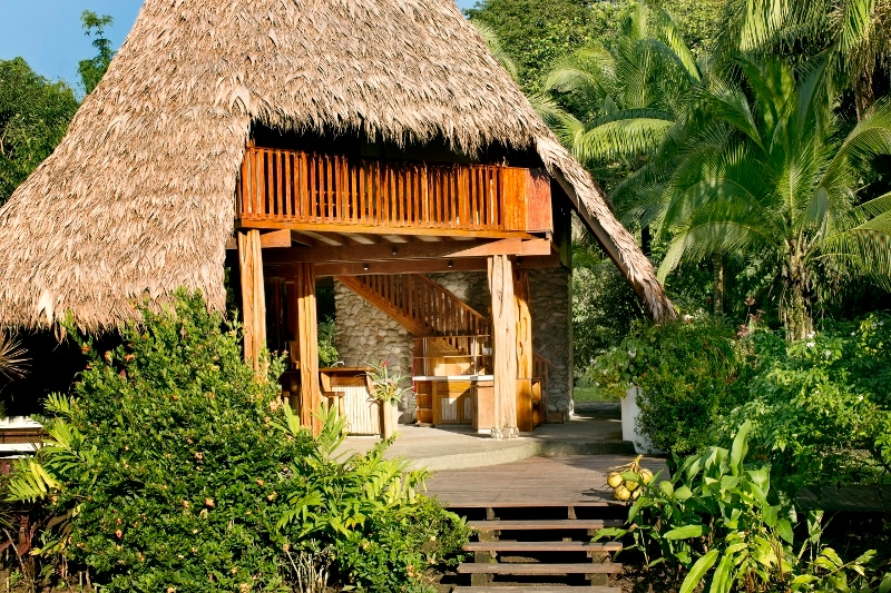 Tropical, open air, grass roof house
