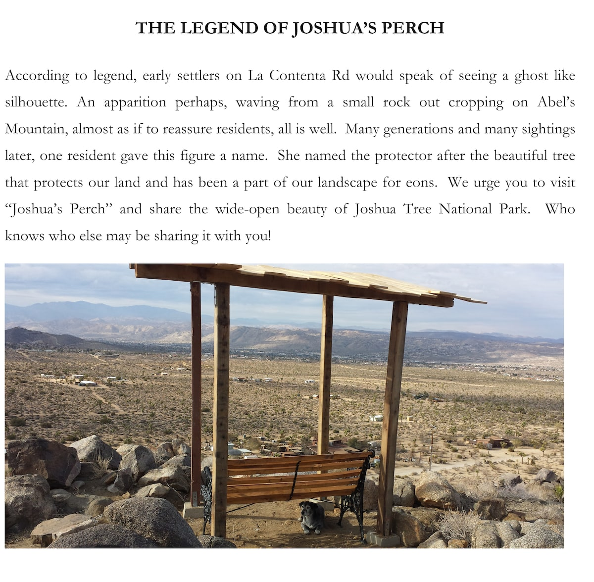 The legend of Joshua's Perch