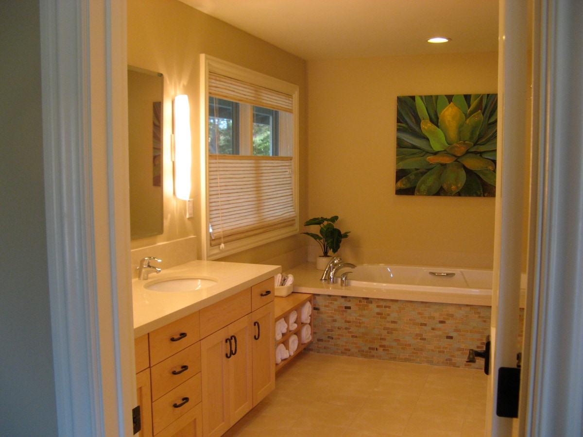 """Master Bathroom #1 with double sinks, """"Airbath"""" tub and separate shower"""