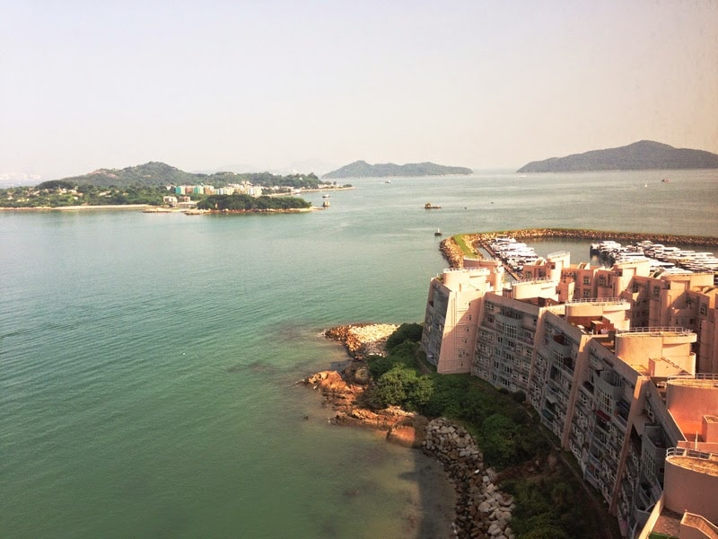 View over hidden beach and towards Peng Chau Island, an old fishing village that can be visited via a 10 minute ferry boat ride.