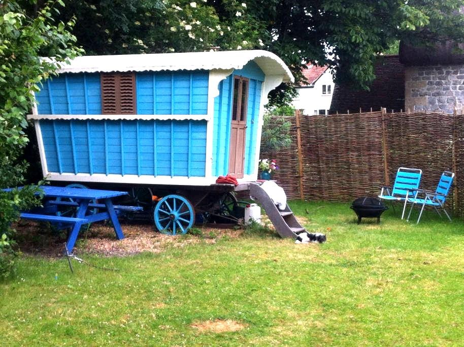 Gypsy wagon in the garden - Marlborough