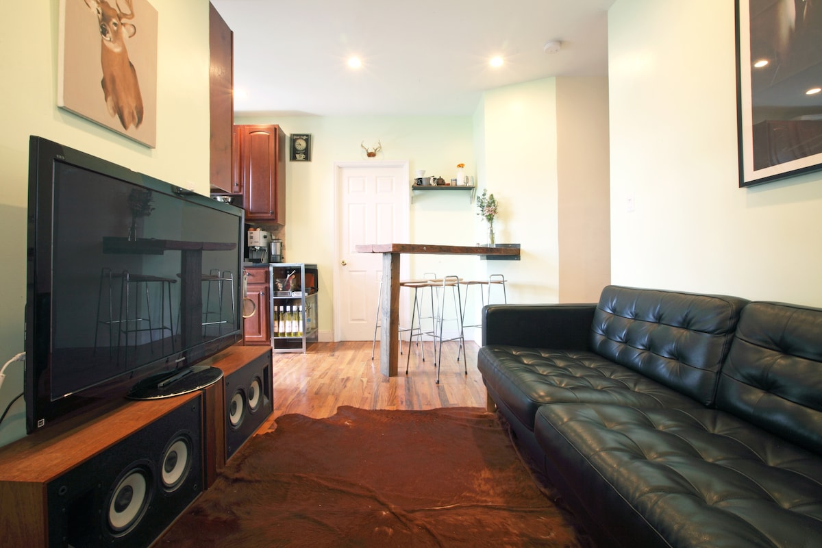 """Spacious and clean with 50"""" Plasma TV, wifi, Netflix, Couch for 3, Dining Counter"""