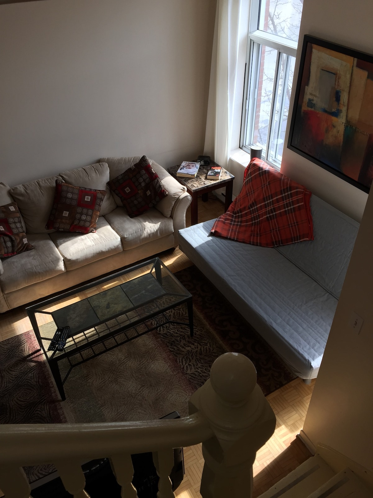 a regular sofa plus a futon that sleeps 2(queen size)