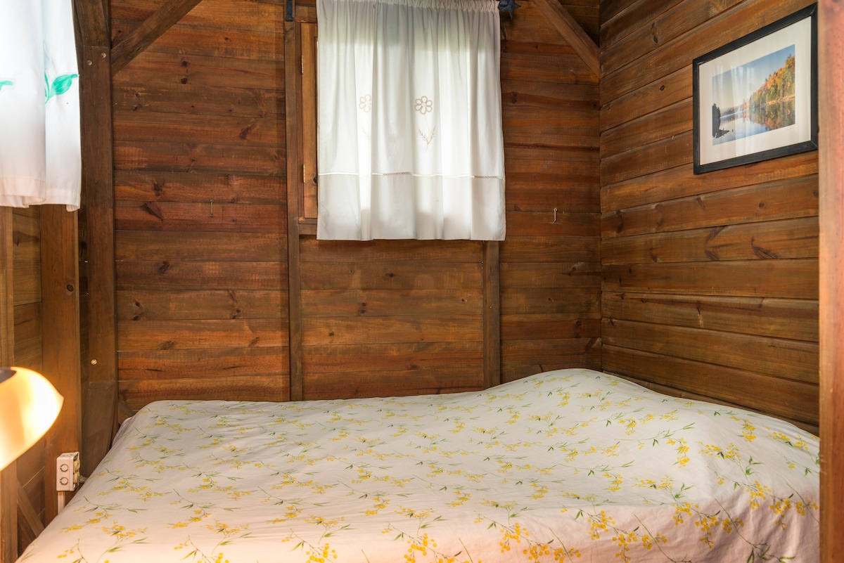 First bedroom with queen size bed and large cupboard.