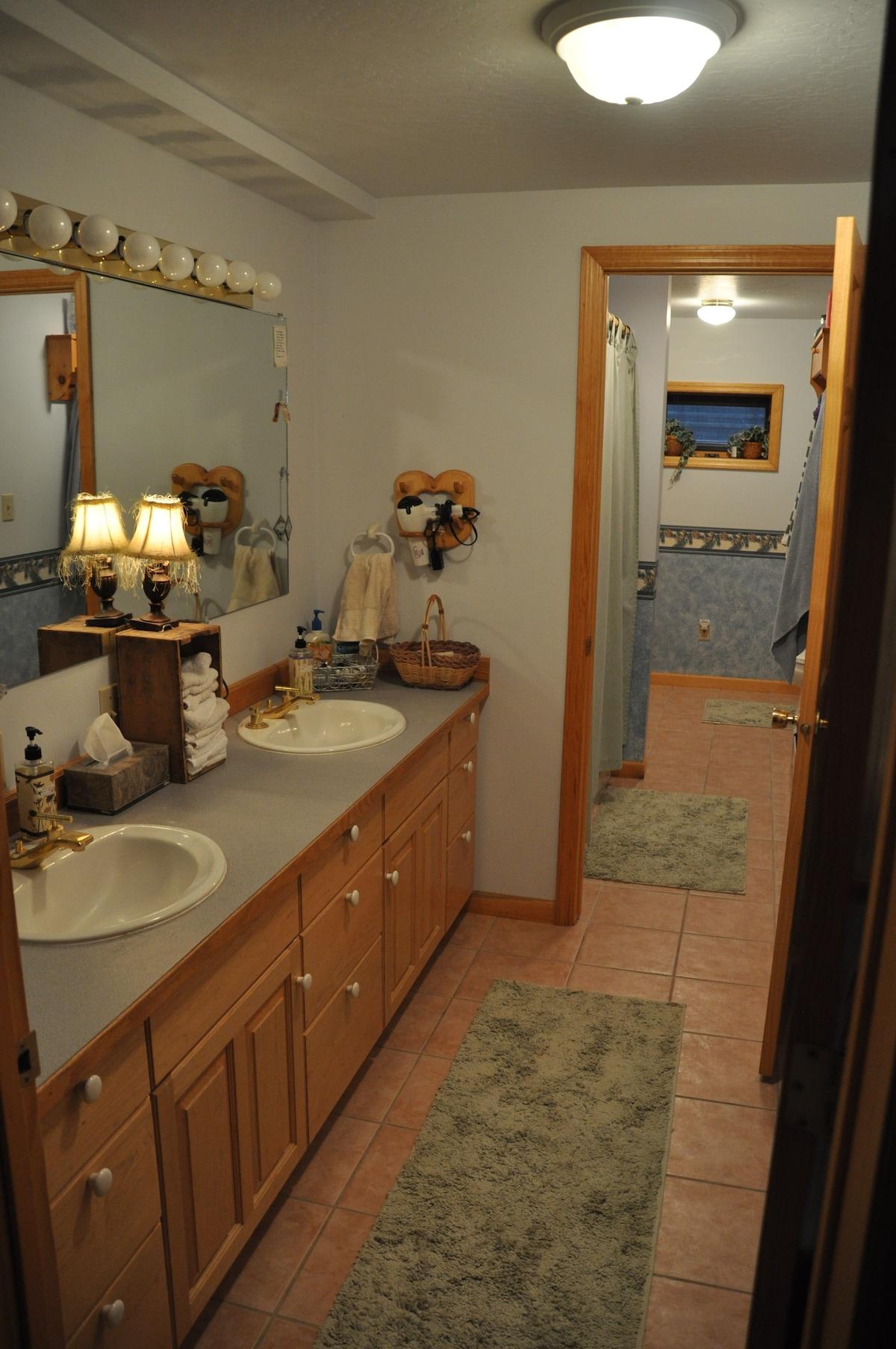 Main cabin down stairs bathroom/shower