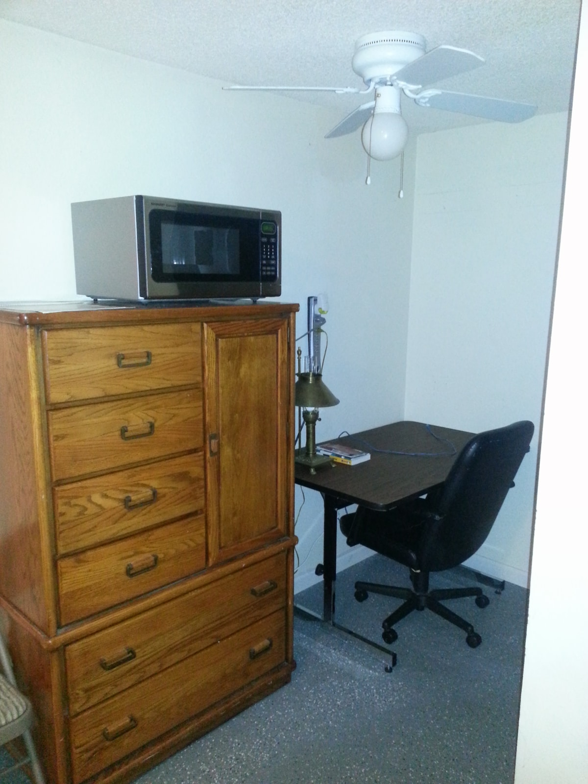 Microwave and dresser with desk and hard-wired network cable. Wireless 802.11n.