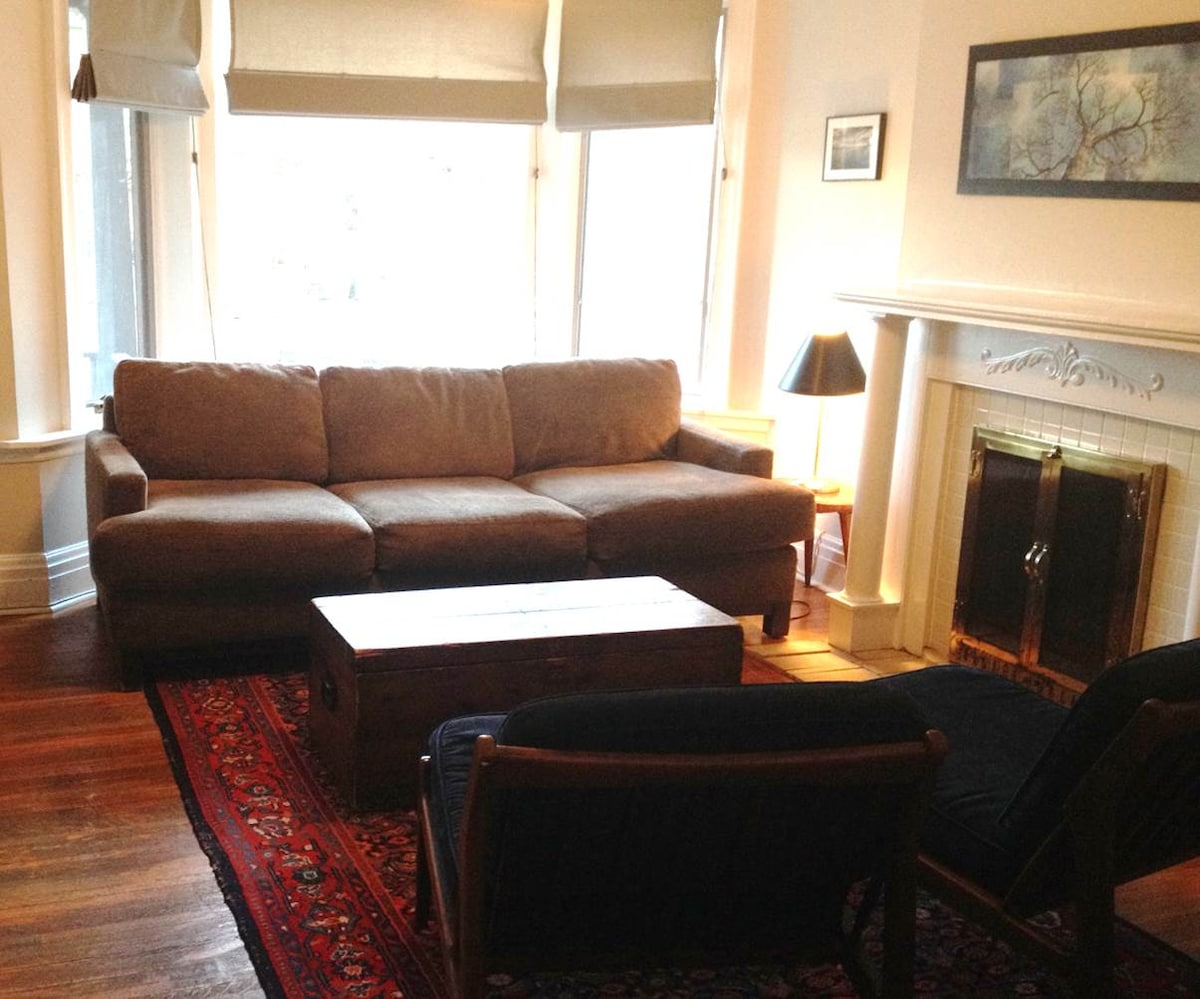 Sunny living room with pullout queen-sized bed