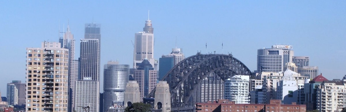 The view of Sydney Harbour Bridge as you come down Bent Street to our Neutral Bay studio apartment
