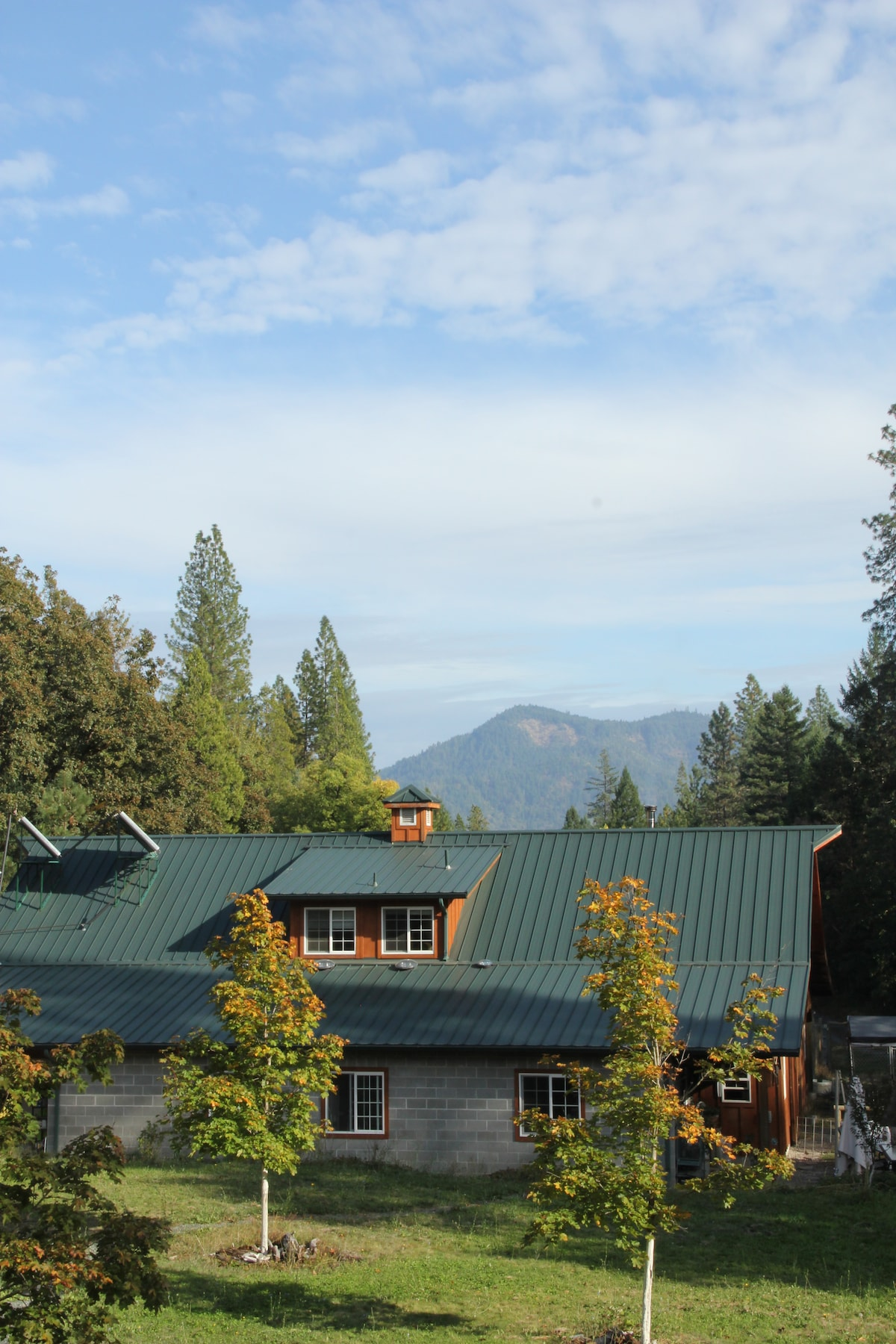 View of the dairy barn and Hillis Peak to the East