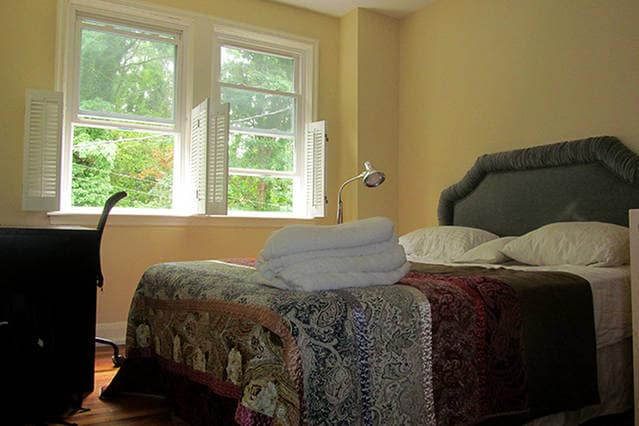 South facing Bedroom, quiet, queen size bed (mattress on the soft side) study desk, closet and dresser storage