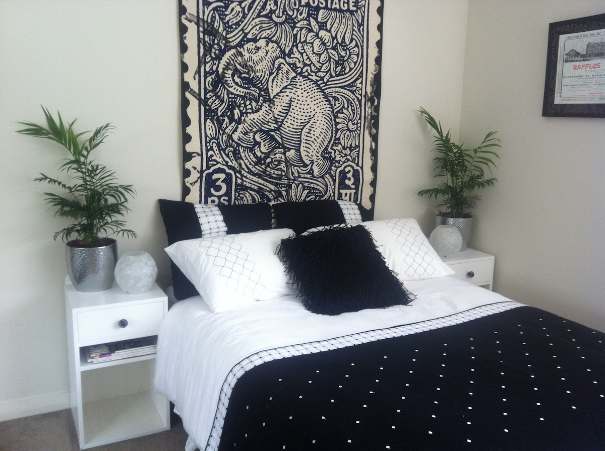 Stylish bedroom in new apartment