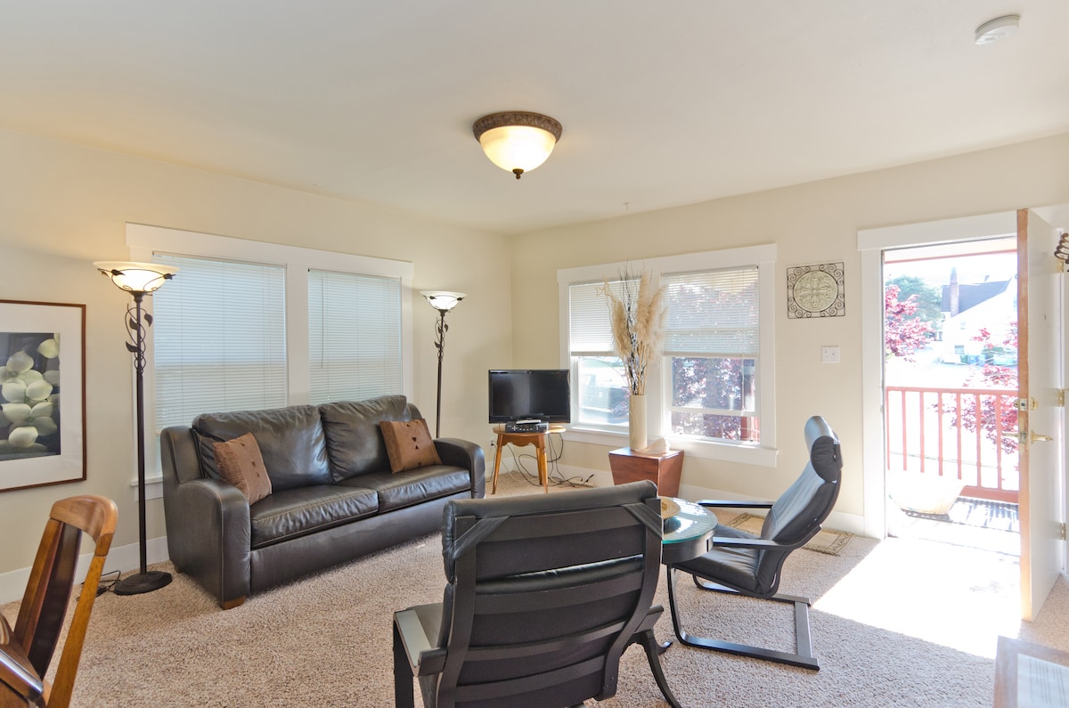 Living Room in 910- upstairs- Leather sleeper sofa- comfy!