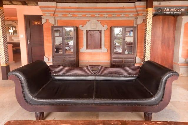 Lounge area inside pool pavilion