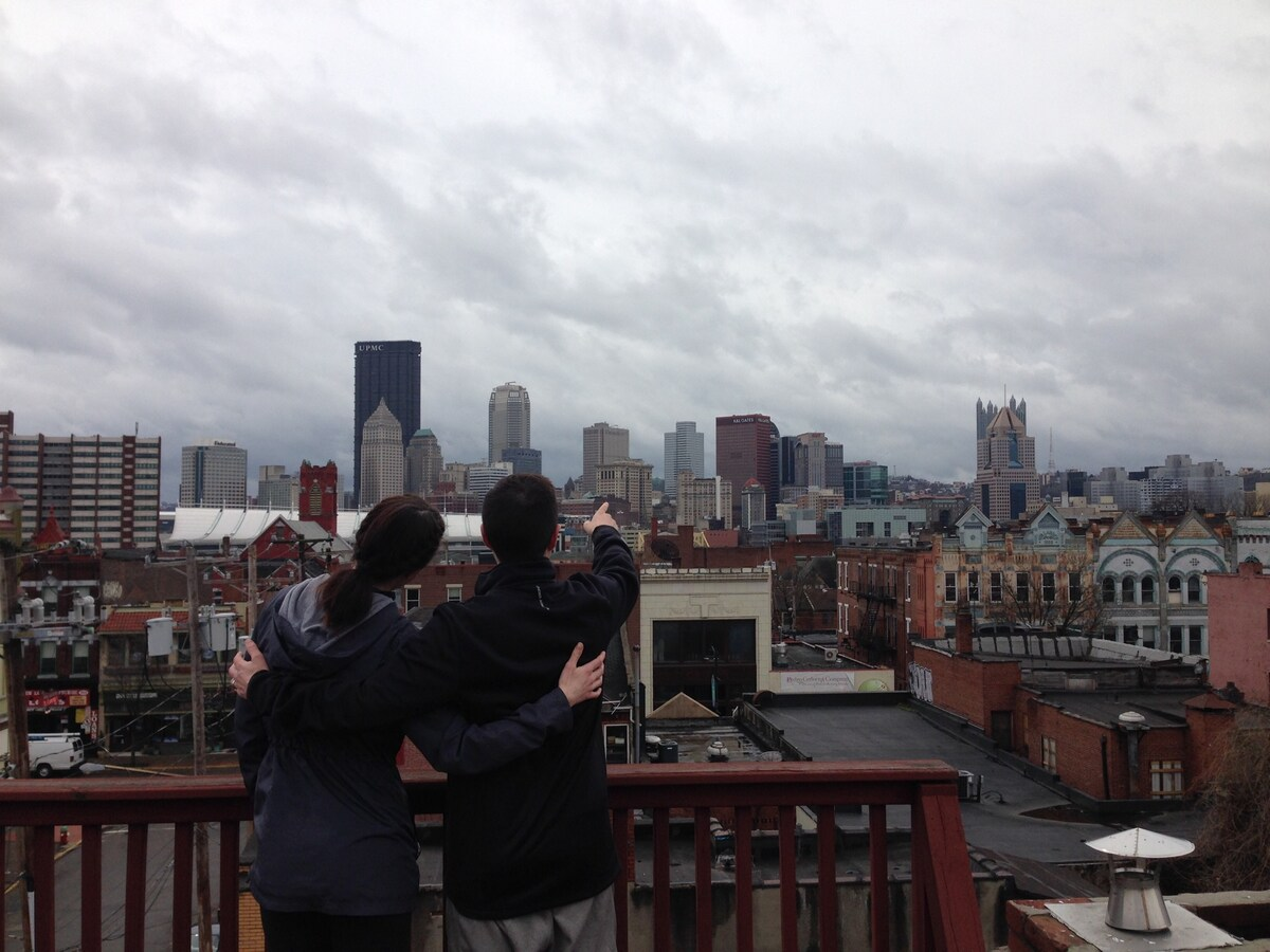 See all the sights in town from the rooftop deck!