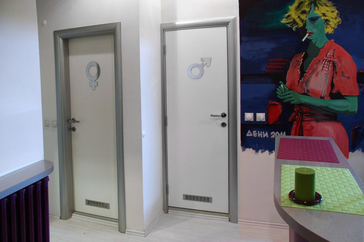 male / female bathrooms
