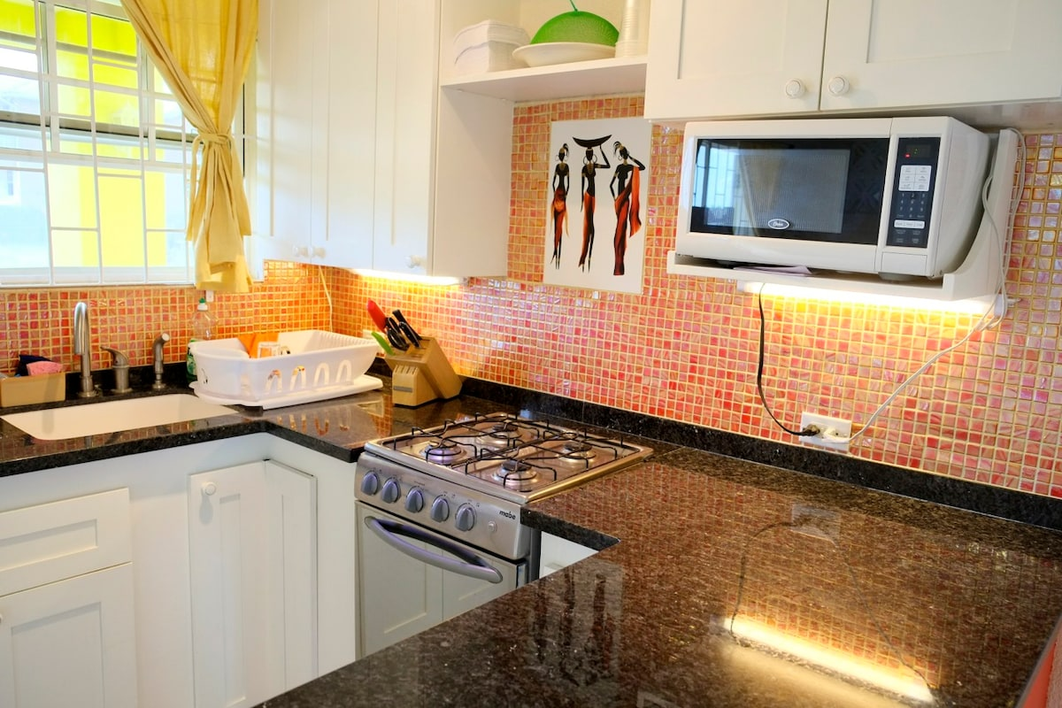 Fully equipped kitchen with a granite counter top and top of the line appliances