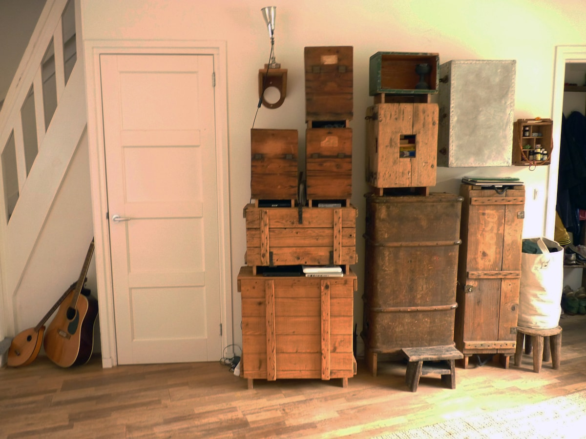 Self made cupboards in the sitting room