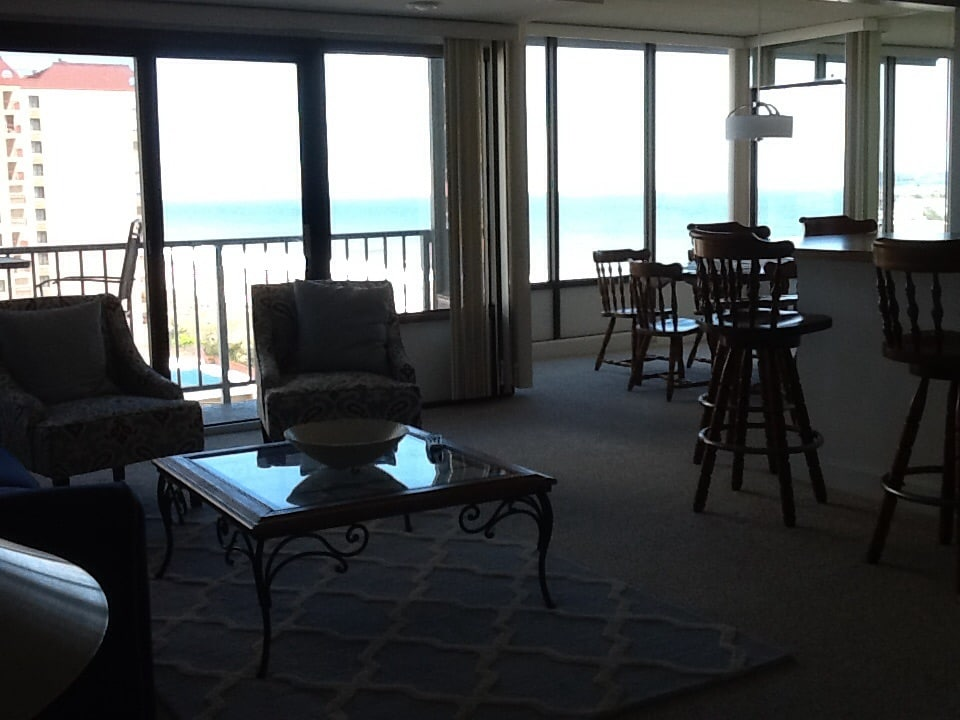 This is the view - 25 ft of glass overlooking the ocean.