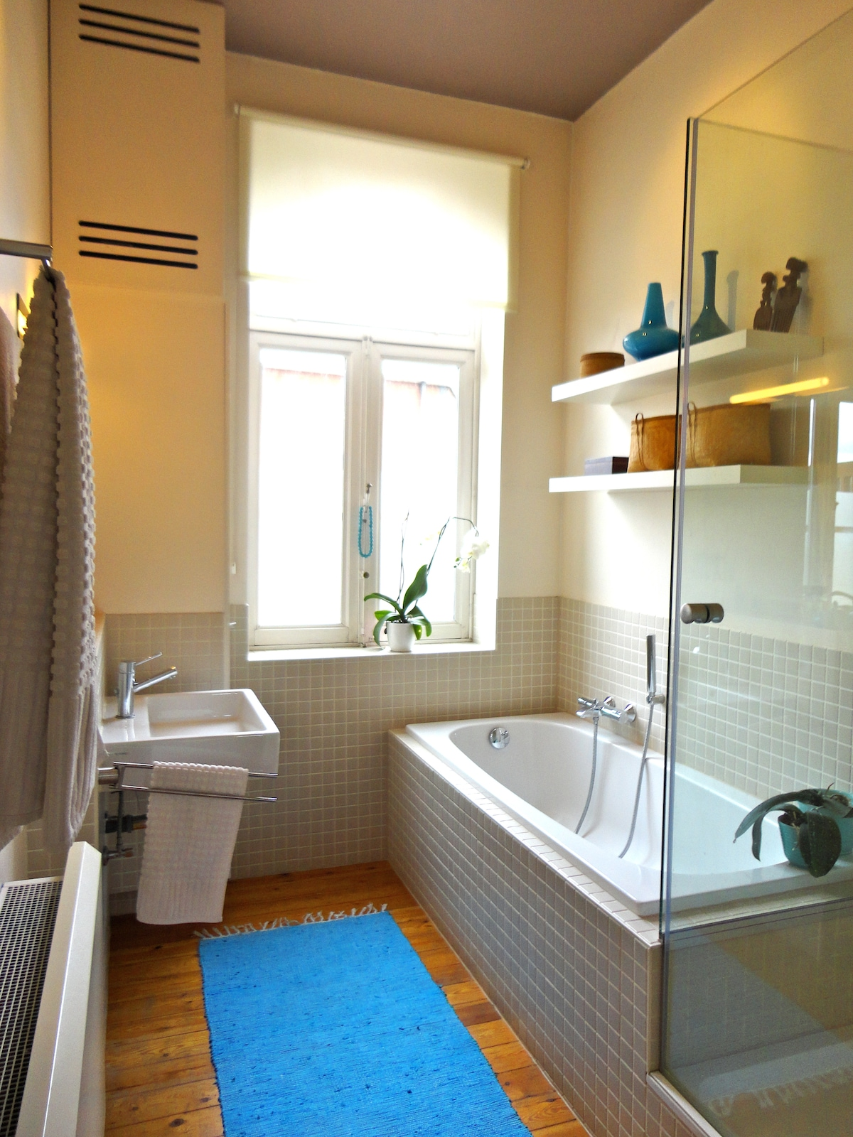 bathroom with shower and bath - separate toilet